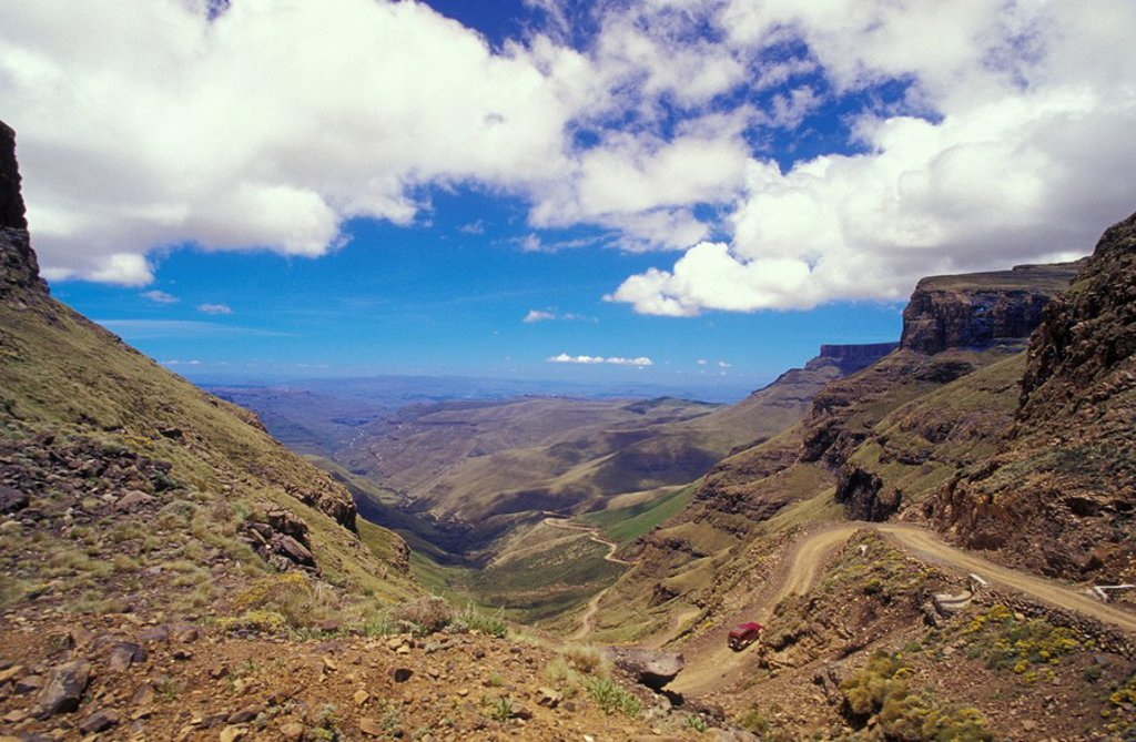 Stock Photo: 1815-38354 View over Cobham State Forest from Sani Pass, South Africa