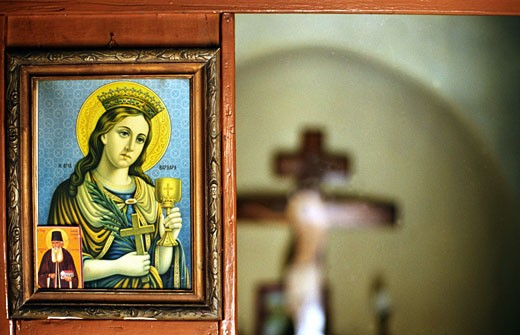 Holy Barbara in a greek-orthodox church on Patmos, Greece : Stock Photo