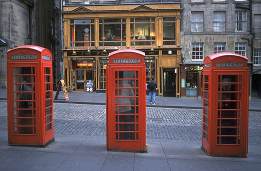 Old public phones, Royal Mile, Edinbourgh, Scotland : Stock Photo