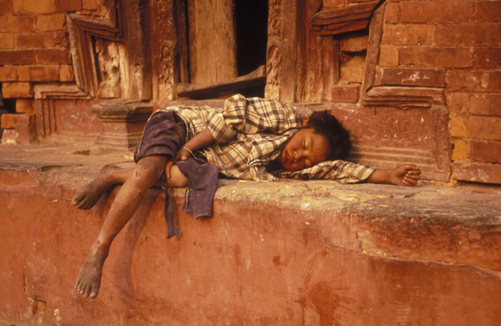 Sleeping child, Nepal : Stock Photo