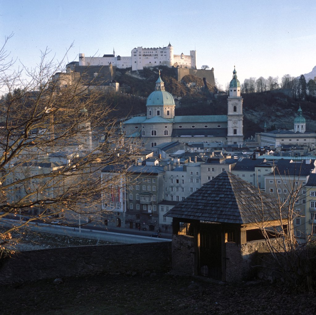 View on Salzburg from the Kapuzinerberg, Austria : Stock Photo