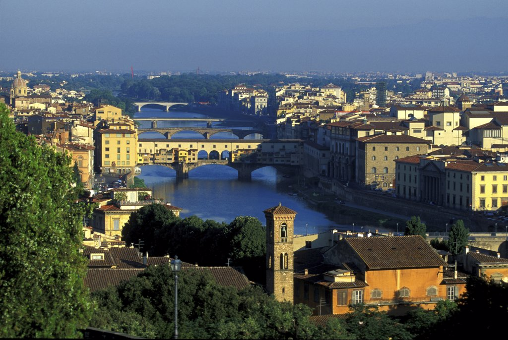 Stock Photo: 1815-39121 View on Ponte Vecchio from Piazza Michelangelo, Florence, Italy