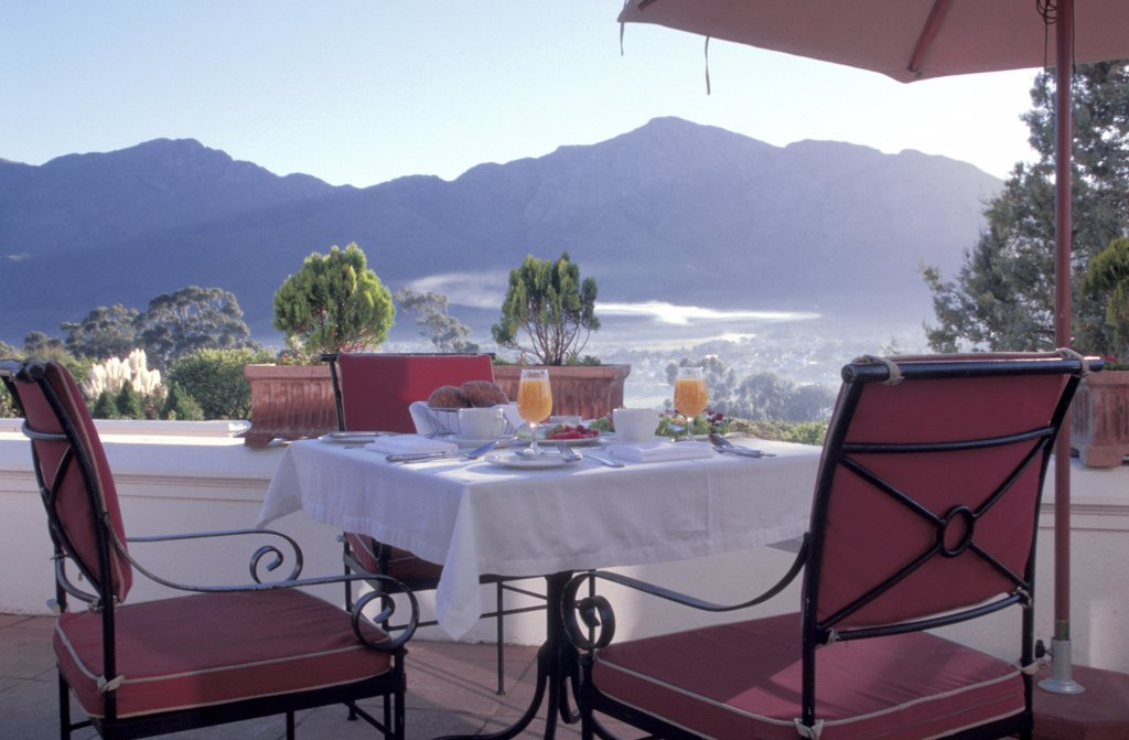 Hotel La Couronne, breakfast, Franschhoek, Western Cape, Southafrica : Stock Photo