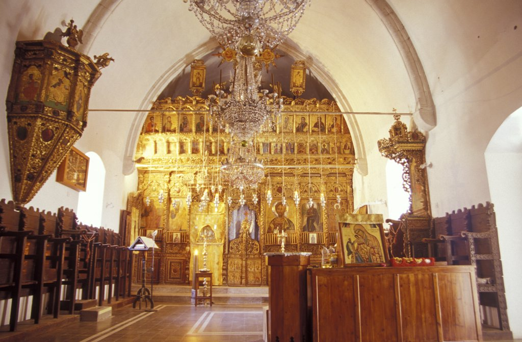 Stock Photo: 1815-39479 Altar at Chrysorrogiatissas monastery, Pano Panagia, Cyprus
