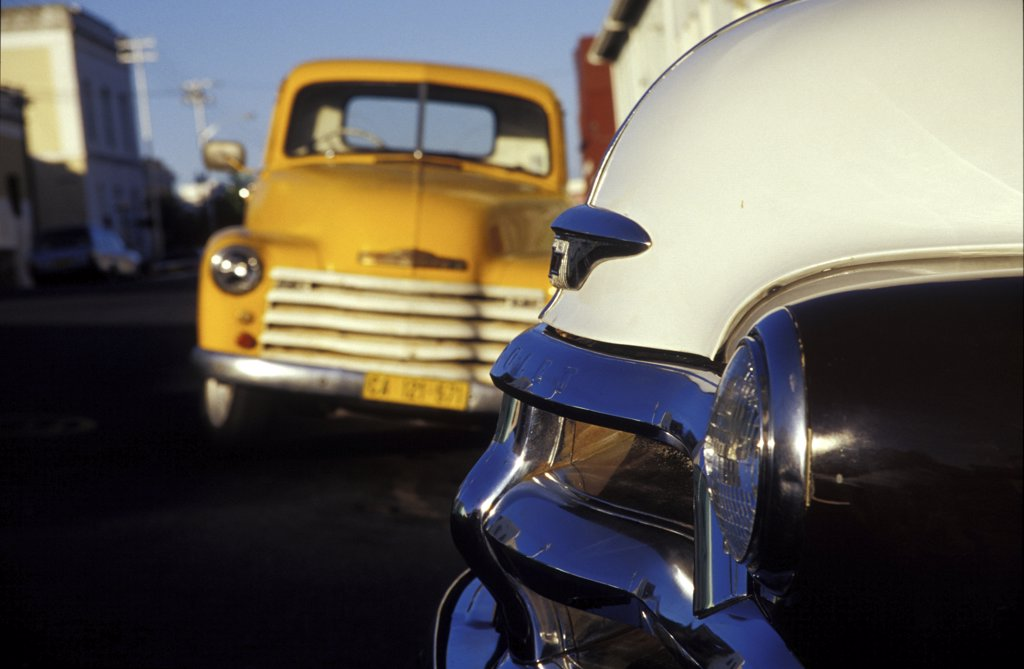 Bo-Kaap, Classic Cars, Capetown (Kaapstad), South Africa : Stock Photo