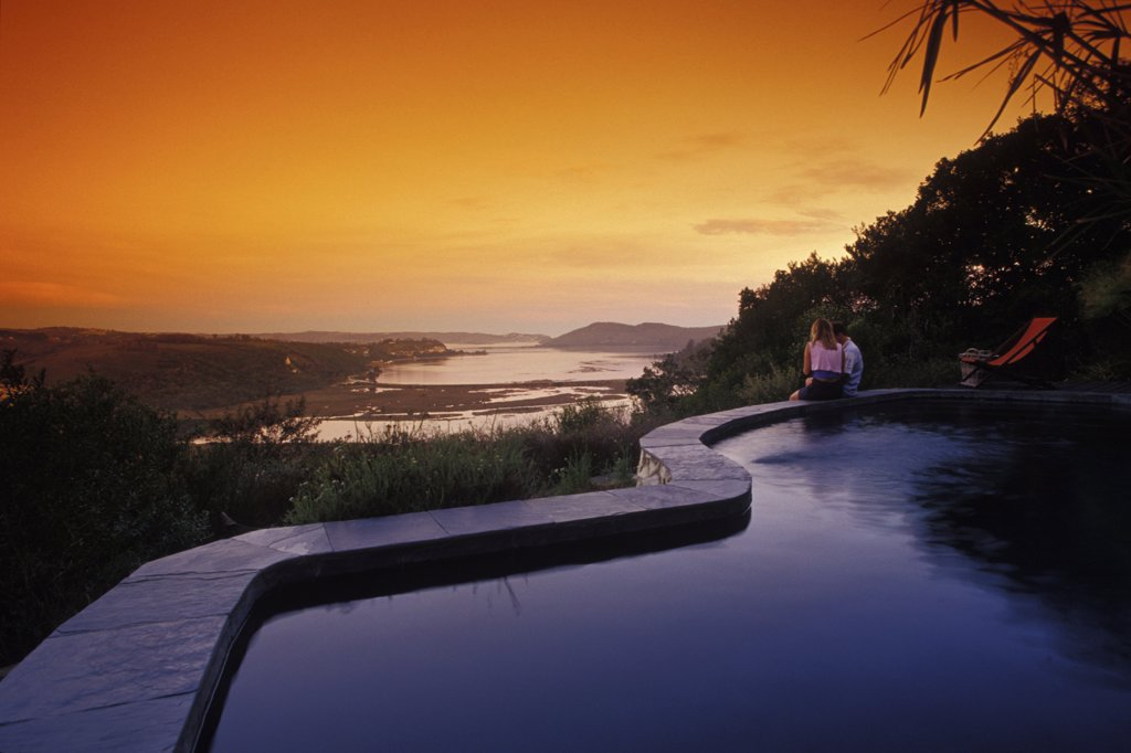 Stock Photo: 1815-39632 Phantom Forest, Luxurious Lodge, view over Knysna Lagoon, Garden Route, Western Cape, South Africa