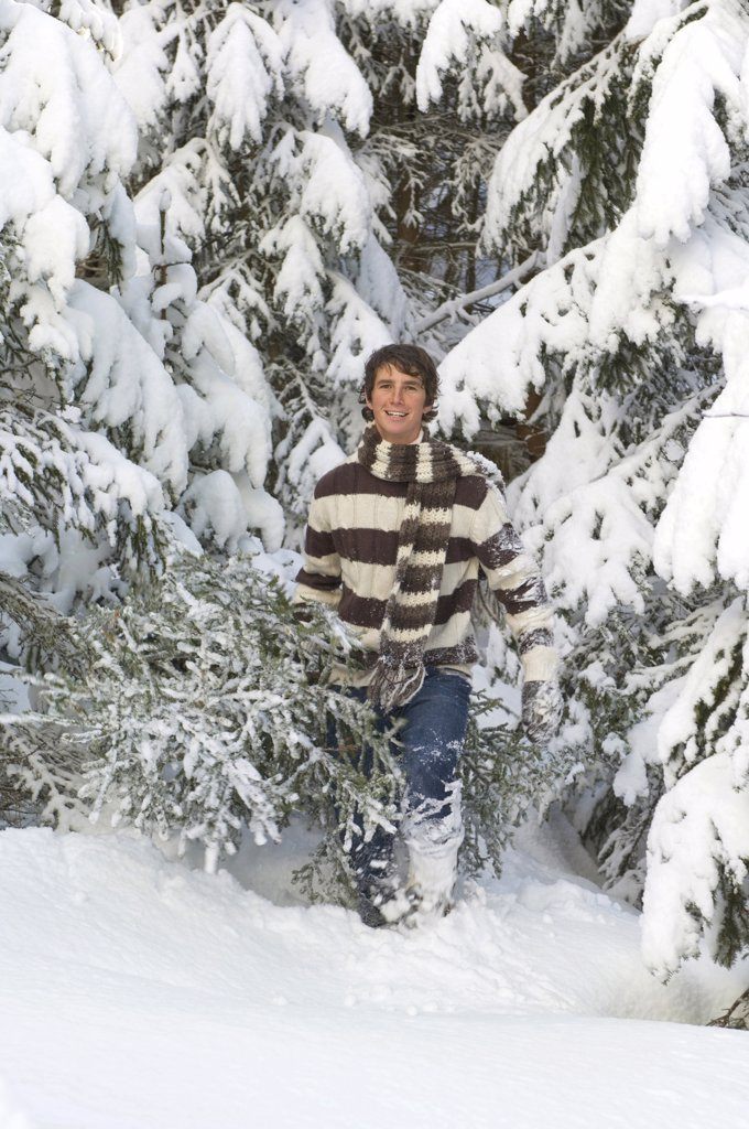 Stock Photo: 1815-41407 Austria, Salzburger Land, Altenmarkt, Young man carrying fir tree