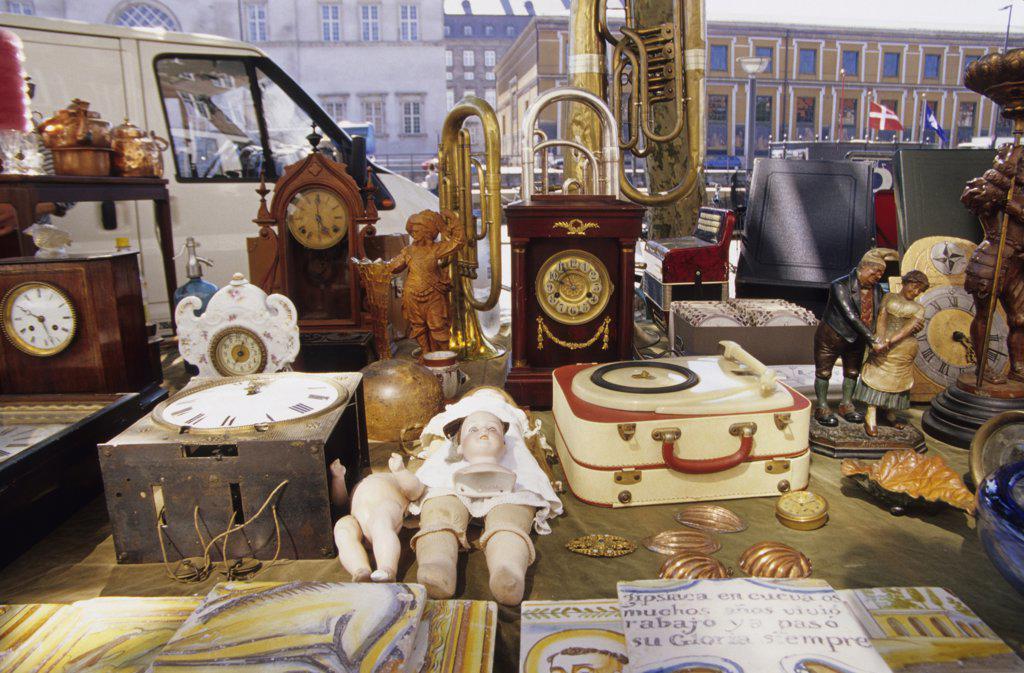 Denmark, Copenhagen, Antique market : Stock Photo