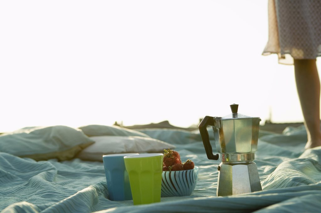 Coffeepot and cups on blanket, outdoors : Stock Photo