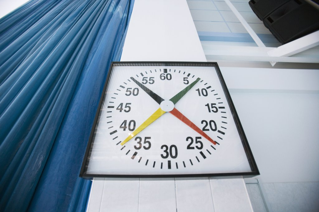 Stop watch in sport stadium, close-up : Stock Photo
