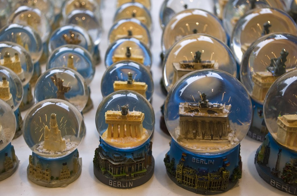 Germany, Berlin, Assortment of souvenirs, Snow globes : Stock Photo