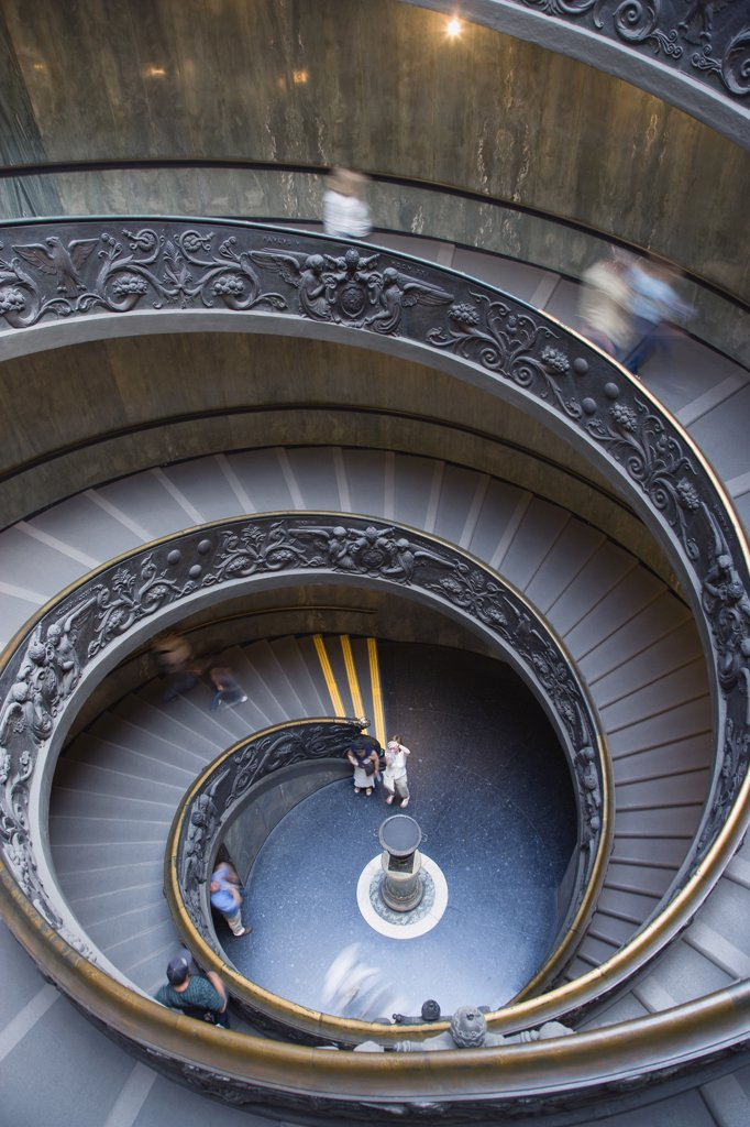 Stock Photo: 1815-47937 Italy, Rome, Vatican City, Museum, Spiral Staircase, elevated view