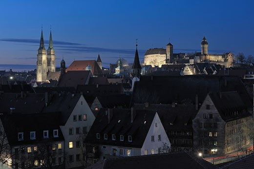 Stock Photo: 1815-48109 Germany, Bavaria, Nürnberg, Kaiserburg Castle at night