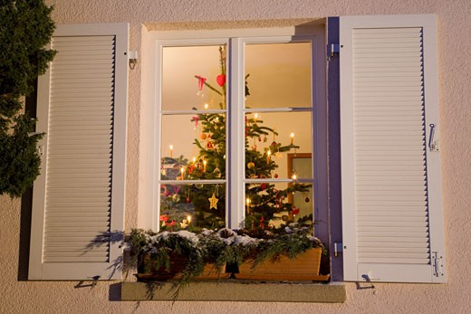 Germany, Christmas tree in house, view through window : Stock Photo