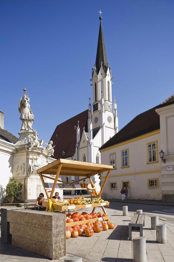 Austria, Melk, Market place and Parish church : Stock Photo
