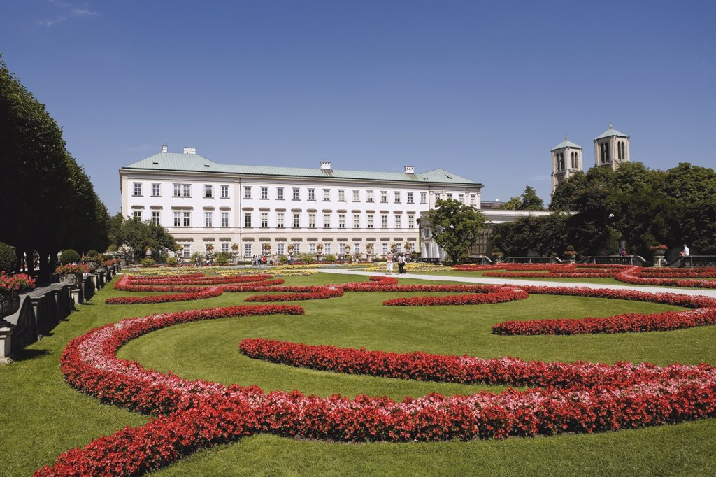 Austria, Salzburg, Mirabell Palace, Mirabell Gardens, flower beds : Stock Photo