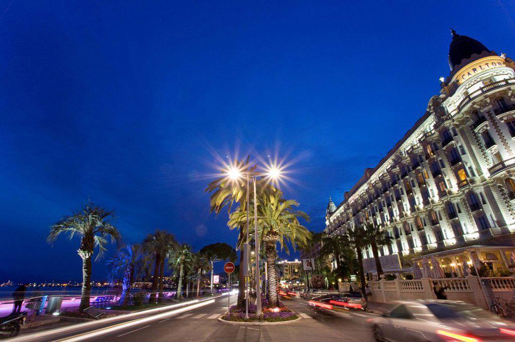 Stock Photo: 1815-49617 France, Cote d´Azur, Cannes, Boulevard de la Croisette, Carlton Intercontinental Hotel