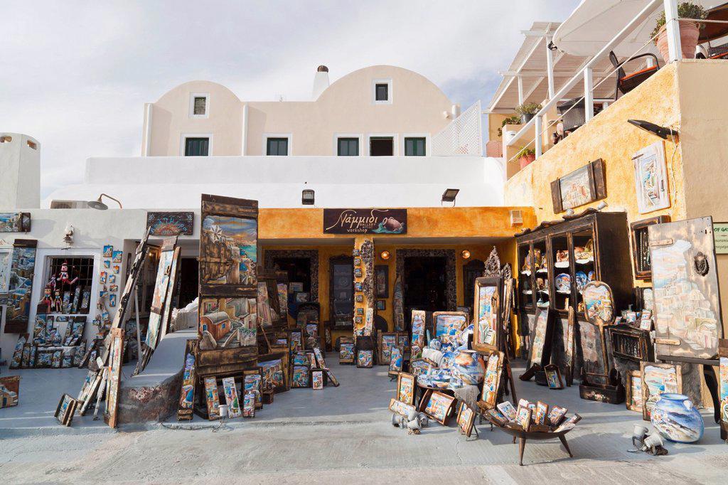 Greece, Cyclades, Thira, Santorini, Tourist shops of oia : Stock Photo
