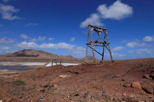 Africa, Cape Verde, Sal, View of saltworks of pedra de lume : Stock Photo