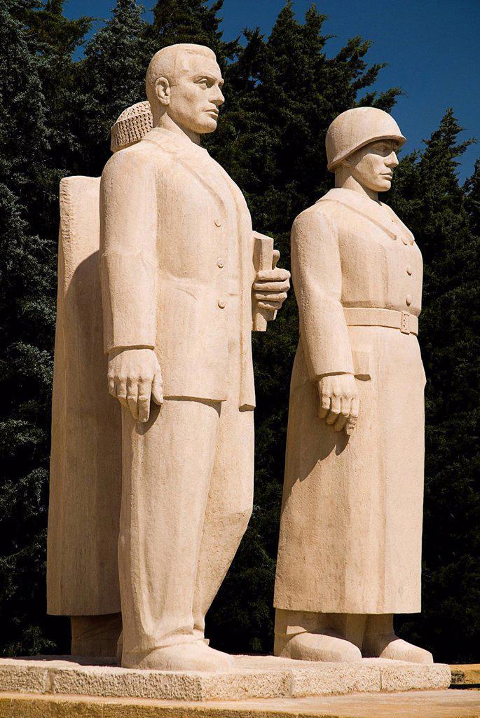 Turkey, Cappadocia, Ankara, Anitkabir, Statues of soldiers : Stock Photo
