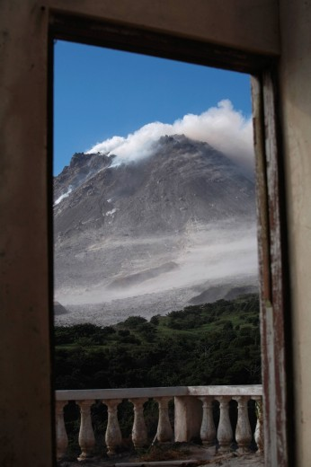 Stock Photo: 1815-88941 Montserrat, Caribbean, Soufriere Hills Volcano erupting through window