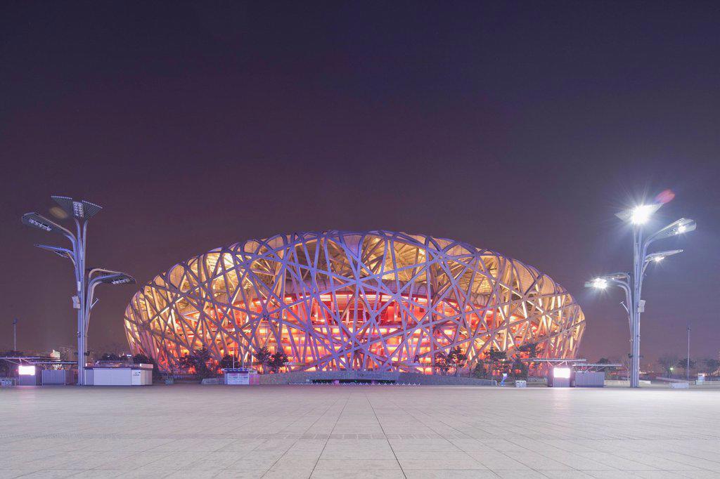 Stock Photo: 1815-98527 China, Beijing, National Stadium at night