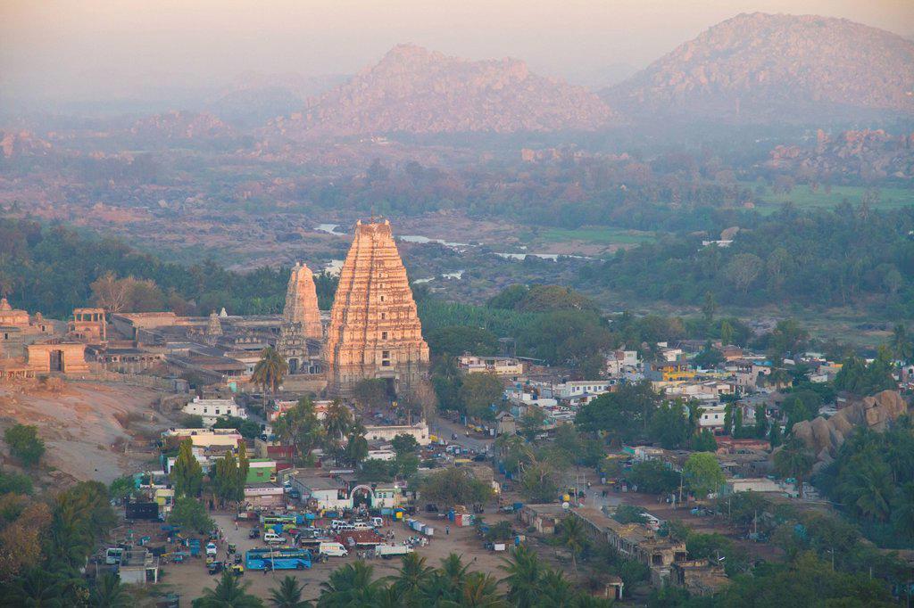 India, Karnataka, Hampi, View of Virupaksha Temple : Stock Photo
