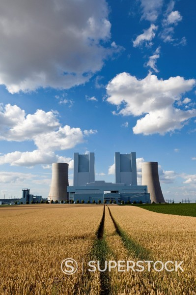 Stock Photo: 1815R-100397 Europe, Germany, North Rhine Westphalia, View of coal power plant