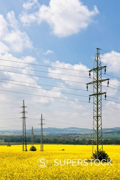 Stock Photo: 1815R-100609 Germany, Bavaria, View of electricity pylon in rapeseed field