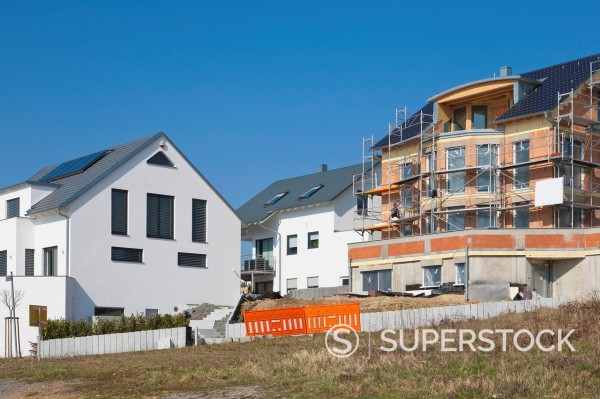 Germany, Baden Wurttemberg, Waiblingen, Construction of house building : Stock Photo