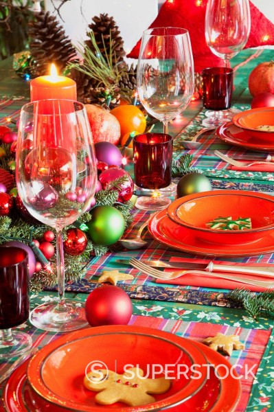 Stock Photo: 1815R-101935 Germany, Cologne, Place setting at dining room for christmas