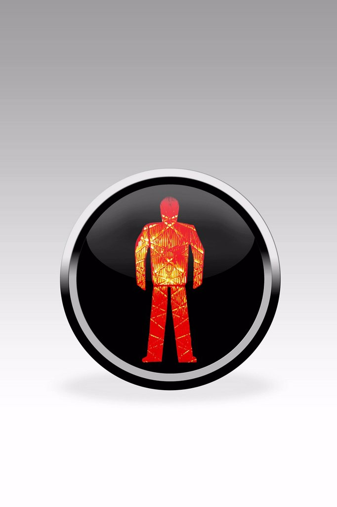 Black button showing dont walk signal, close up : Stock Photo