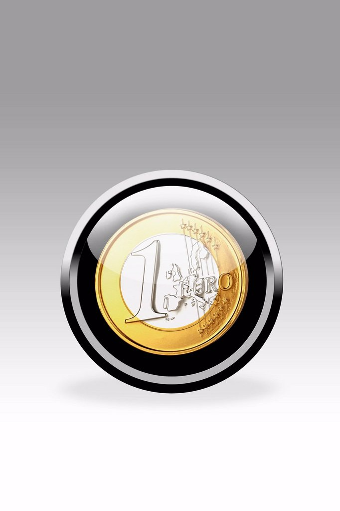 Black button showing one euro symbol, close up : Stock Photo