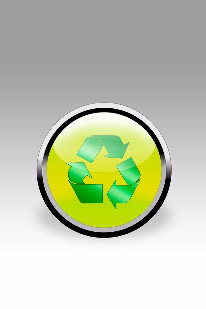 Button showing recycling sign, close up : Stock Photo