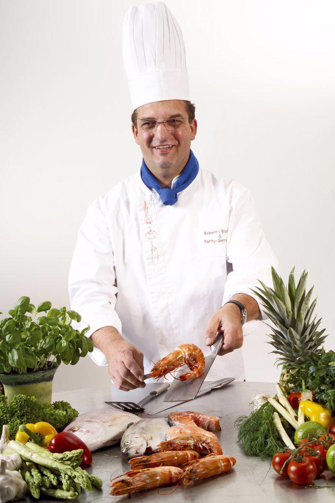 Chef in kitchen : Stock Photo