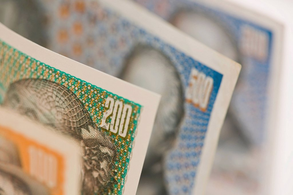 Danish krone note, close up : Stock Photo