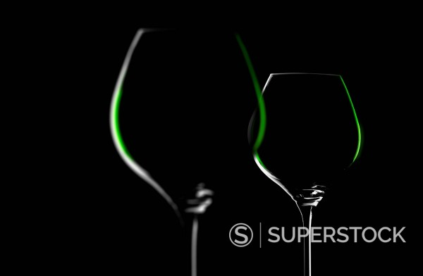 Stock Photo: 1815R-105026 Wine glasses against black background