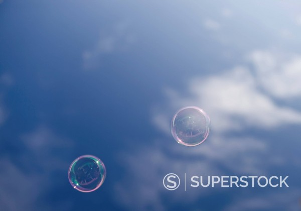 Germany, Duesseldorf, Soap bubbles against sky : Stock Photo
