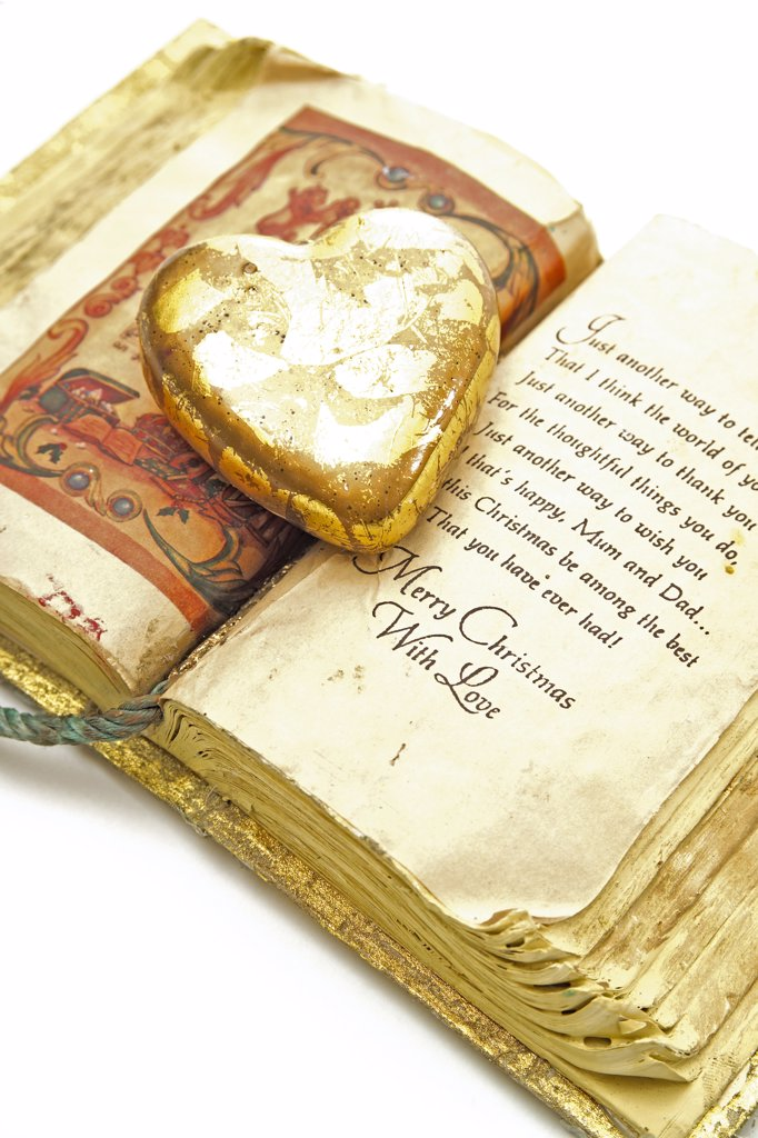 Stock Photo: 1815R-10834 Heart on open book, decoration for christmas