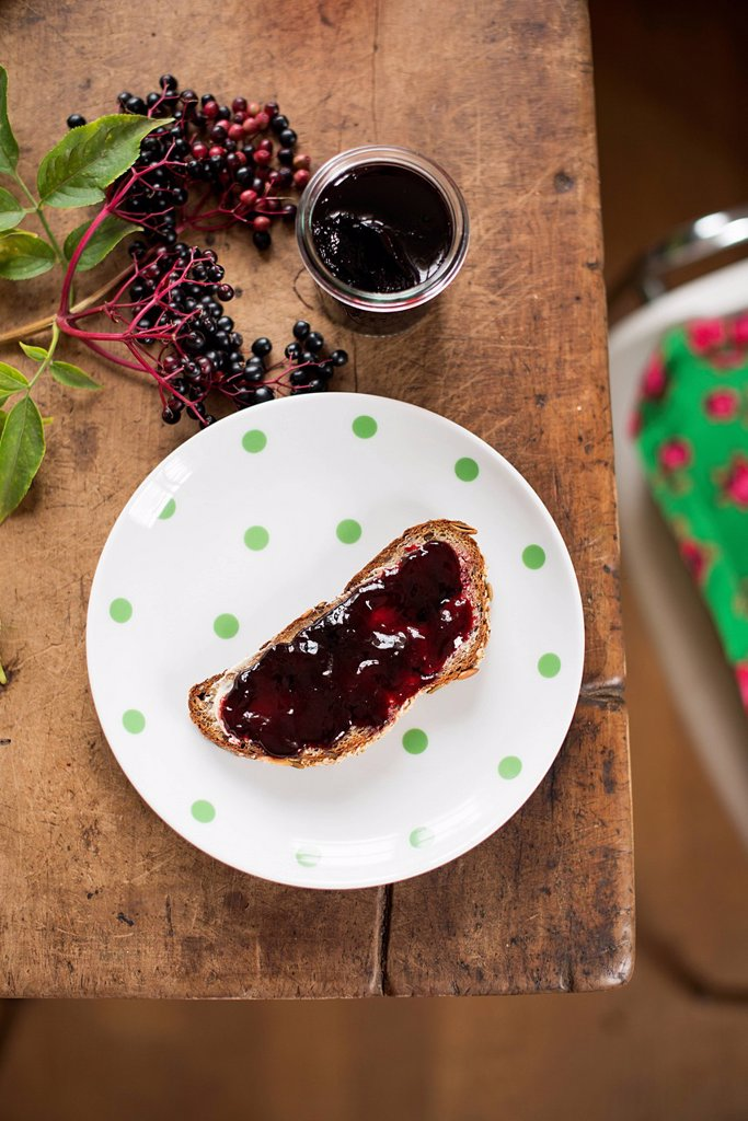 Stock Photo: 1815R-111903 Slice of bread with elder jelly in plate