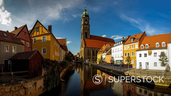Germany, Bavaria, Amberg, View of old town and St Martin Church at Vils River : Stock Photo