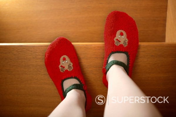 Human legs with slippers standing on wooden stairs : Stock Photo