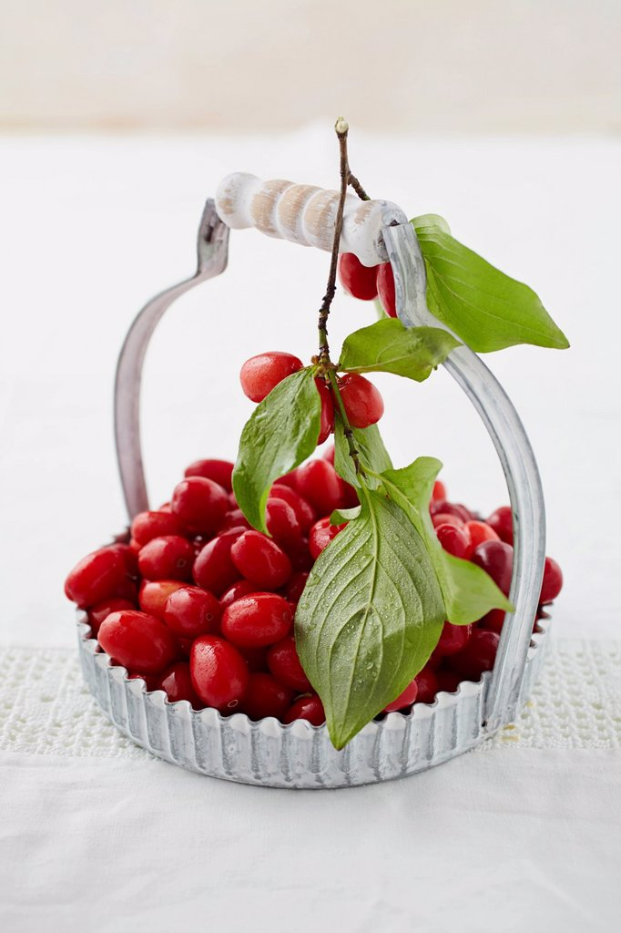 Close up of cornel cherries in basket : Stock Photo