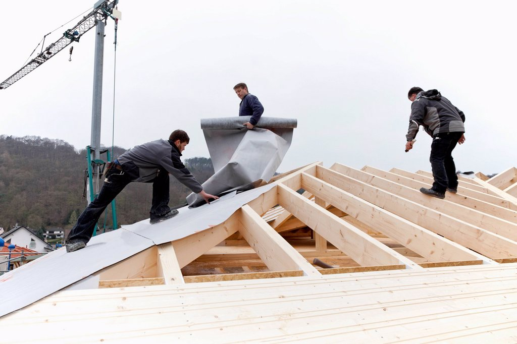 Europe, Germany, Rhineland Palatinate, Workers roofing on house : Stock Photo