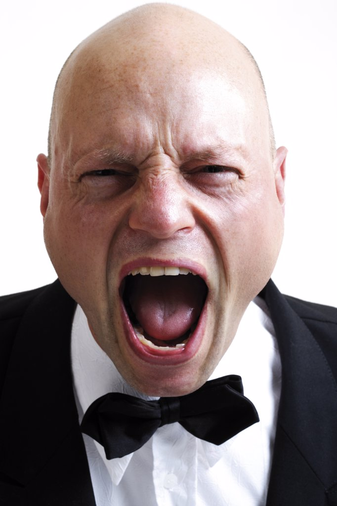 Stock Photo: 1815R-13250 Man screaming, portait, close-up