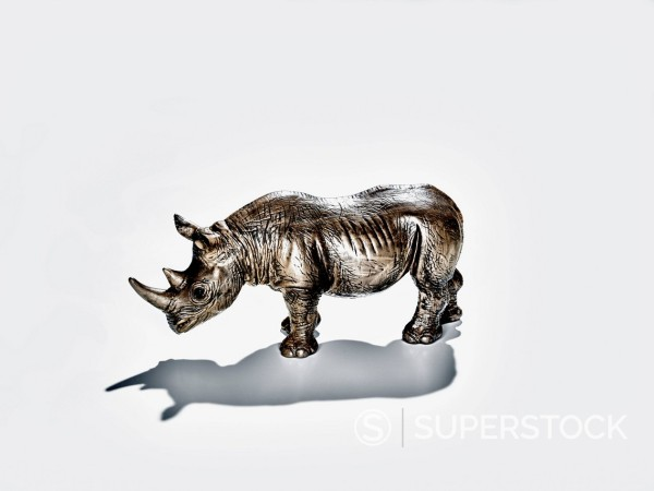 Toy rhinoceros on white background, close-up : Stock Photo