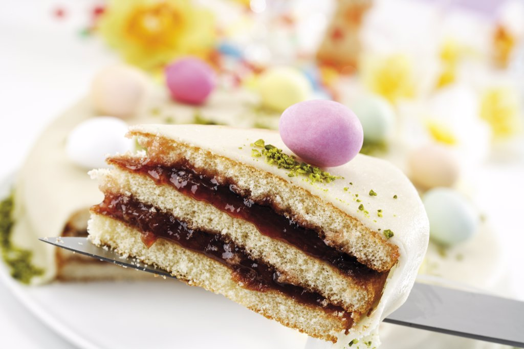 Stock Photo: 1815R-13677 Piece of marzipan torte, close-up