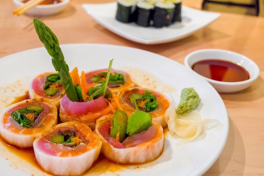 Stock Photo: 1815R-143307 Raw sashimi fish filet from tuna, salmon on plate, close up