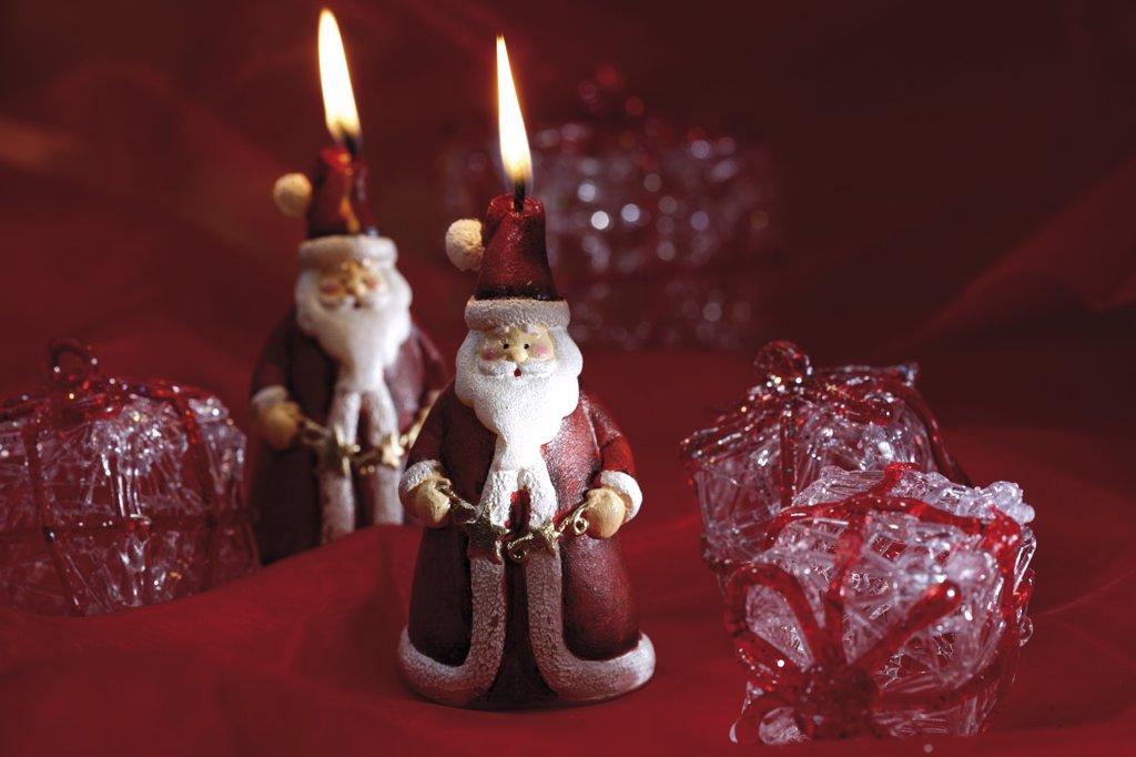 Santa Claus candles : Stock Photo