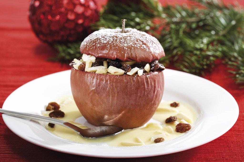 Stock Photo: 1815R-14603 Baked apple with vanilla ice cream